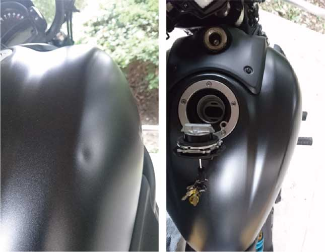 バイクタンクのヘコミ写真とタンク給油口の写真-黒
