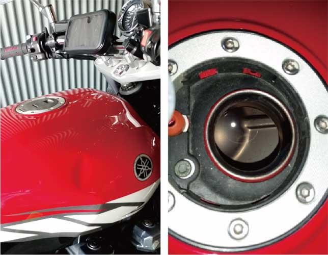 バイクタンクのヘコミ写真とタンク給油口の写真